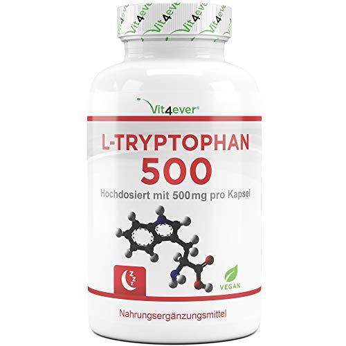 L-Tryptophan 500 mg - 240 Kapseln - Aminosäure - Laborgeprüft - Hochdosiert - Vegan - Premium Qualität - Vit4ever