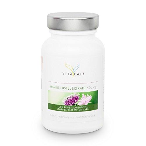 VITAFAIR Mariendistel-Extrakt 500 mg | 90 Kapseln | Hochdosiert mit 80% Silymarin |Ohne Trenn- und Füllmittel