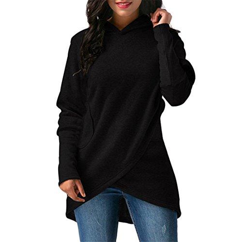 Rosa Kleid Mantel Jacke (Verband Kapuzenpullover für Frauen,FRIENDGG Damen Mädchen Herbst Winter Langarm Feste Mode Lässig Täglich Elegante Kapuzenpulli Wrap Outwear Tops Mantel Pullover Hoody (Schwarz, XXL))