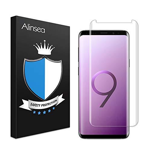 Alinsea Samsung Galaxy S9 Schutzfolie, Panzerglas Displayschutzfolie [9H Härte] [Anti-Kratzer] [Einfach Installation] [Blasenfreie] 3D Touch Kompatibel Panzerglasfolie für Samsung Galaxy S9
