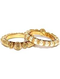 Shayna Jewellery Set Of 2 Off-White Gold-Plated Beaded Bracelet Bangles For Women