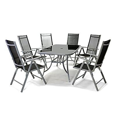 7tlg. Gartengarnitur Alu Sitzgruppe Sitzgarnitur Gartenstühle Glastisch schwarz
