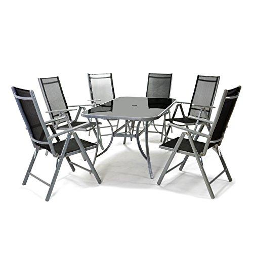 Nexos 7-teiliges Gartenmöbel-Set – Gartengarnitur Sitzgruppe Sitzgarnitur aus Gartenstühlen & Esstisch – Aluminium Kunststoff Glas – schwarz grau