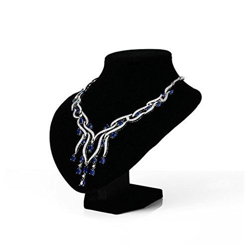 Aooaz Mesdames Argent Collier Argenté Branches Houppe Zrikonia Remorque Tassel Cluster Couleurs Cristal Remorque Chaîne de Mariage Blau