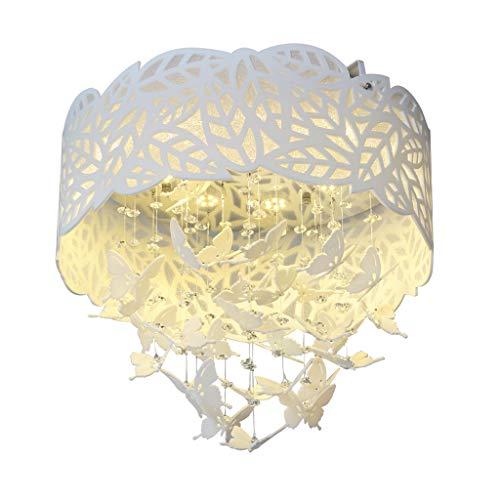 Spots de plafond Plafonnier Cristal Papillon Plafonnier Simple Moderne LED Acrylique Plafond Rond Lampe Salon Salle À Manger Lampe De Chambre (Color : Blanc, Size : 45 * 45 * 39cm)