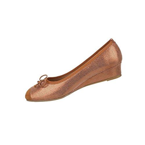 Damen Schuhe Pumps Mit Schleife Dekorierte Wedges Bronze