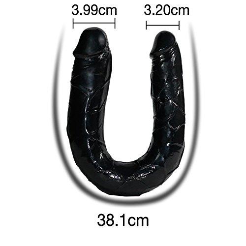 Tracy's Dog Doppeldildo 36.8cm Lang (Ø 25-35 mm) Doppel Dildo für Sie Doppel Penis Double Dong Butt Plug (Schwarz) - 4