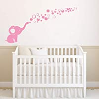 Removable Nursery Room Wall Decor Cute Elephant Blowing Bubbles Wall Decal Art Vinyl Wall Decor Sticker for Baby Bedroom