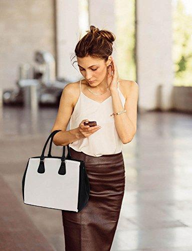 TrendStar Frau Entwerfer Modisch Handtasche Damen Imitat Leder Für Leinentrage Tasche Schwarz/Weiß