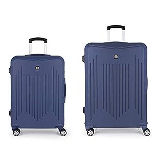 Gabol – Clever | Juego de Maletas de Viaje Rigidas de Color Azul con Trolley Mediano y Trolley Grande