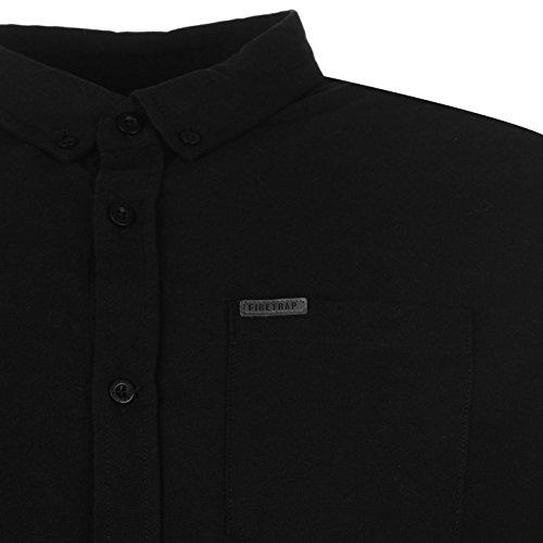 Firetrap Herren Basic Oxford Shirt Business Hemd Knoepfen Langarm Freizeithemd Schwarz