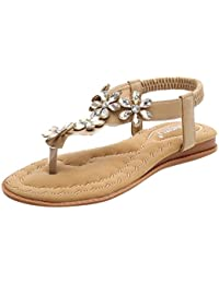 Luckycat Sandalias Mujeres Moda Verano Plano Talla Grande Bohemia Clip Toe Dulce con Cuentas Sandalias Casuales