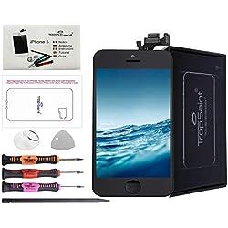 trop saint® Écran Compatible avec iPhone 5 Noir - Kit de Réparation Complet avec Notice, Tapis de Repérage Magnetique et Outils