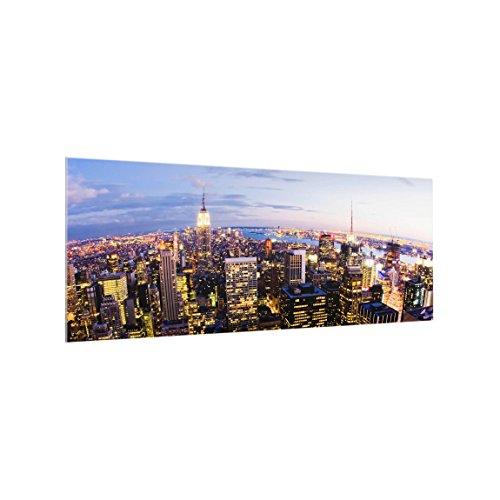 Bilderwelten Spritzschutz Glas - New York Skyline bei Nacht - Panorama Quer, 40cm x 100cm