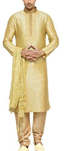 Indian Poshakh Men's Silk Sherwani (1181_42, 42, Gold)