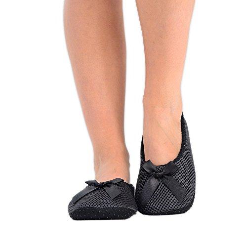 Damen Weiche Hausschuhe Ballerina Slipper mit Schleife 6 Farben erhältlich in EU-Größe 37-40 Schwarz