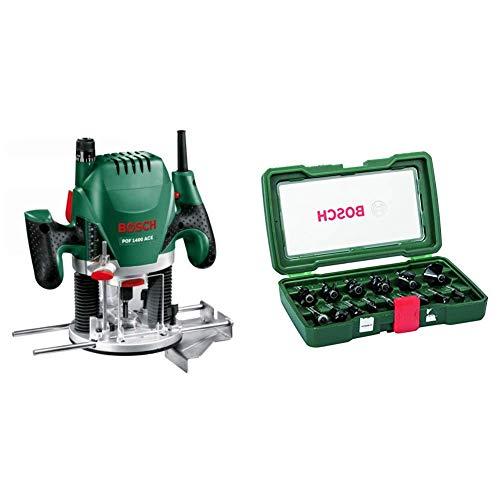 Bosch Oberfräse POF 1400 ACE (1.400 Watt, im Koffer) + Bosch 15tlg. Fräser Set (Holz, Zubehört für Oberfräsen mit 8 mm Schaft)