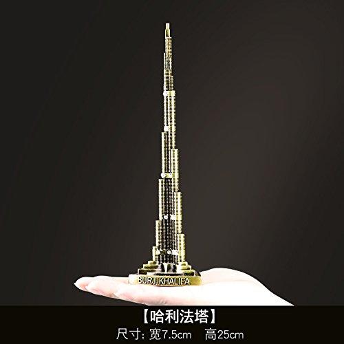 SQBJ Die weltberühmten Sehenswürdigkeiten in Paris Eiffel Tower Modell Dekoration Deko Schreibtisch kreative Geschenke, Burj Khalifa Tower