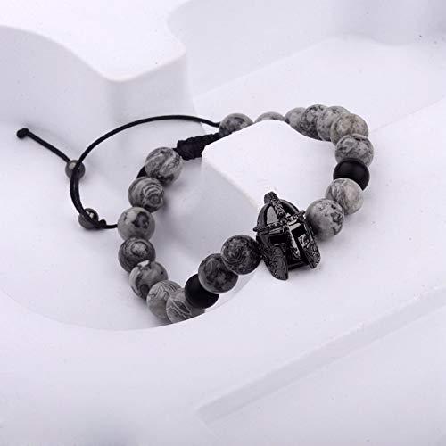 Imagen de ygsvt pulsera soldier helmet cz beads bracelet macrame charm bracelet hombres natural grey stone beads bracelets alternativa