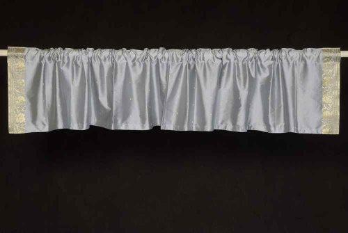 Gray-Steckrute-Pocket Top IT Off handgefertigt Sari Querbehang, Polyester, Grau, 60 X 15 Inches