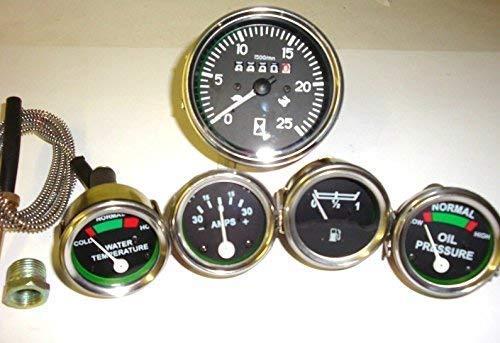 Desconocido Massey Ferguson - Juego de medidores de Tractor (tacómetro, presión de Aceite, Temperatura y Combustible, amperímetro, Compatible con MF35 MF50, MF65 MF135 MF150-165)