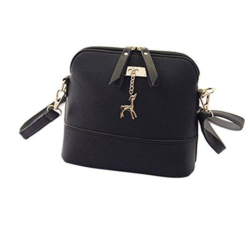 Extra Large Satchel (LILICAT Kleine Damen Schultertaschen PU Leder Chic Damentasche Frauen Ledertaschen Elegant Citytasche Handtasche Überschlag Satchel Bag (One size, Schwarz))