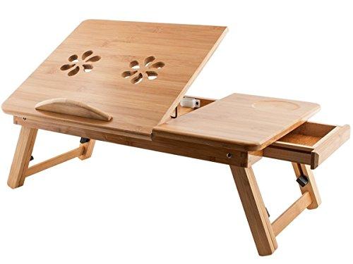 Pritech - Mesa de bambú de altura ajustable, portátil y plegable para el ordenador portátil, bandeja, mesa para la cama con cajón