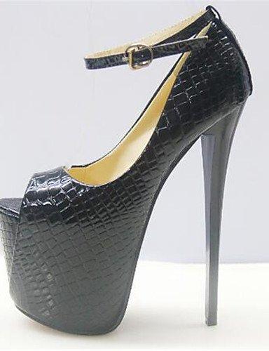 WSS 2016 Chaussures Femme-Habillé-Noir / Blanc-Talon Aiguille-Bout Ouvert-Talons-Similicuir black-us6.5-7 / eu37 / uk4.5-5 / cn37
