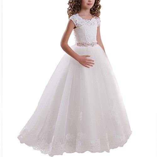 FYMNSI Blumenmädchen Kleid Kinder Spitze Applique Prinzessin Langes Abendkleid Brautjungfern Hochzeitskleid Mädchen Erste Kommunionskleid 2-13 Jahre