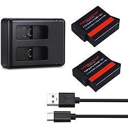 Expresstech @ Batterie Rechargeable pour Caméra Embarquée Lot de 2 et Chargeur Double pour gopro GOPRO HERO hero 5