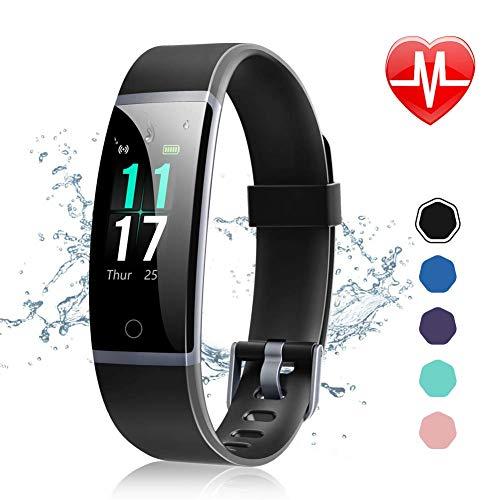 Letsfit Fitness Armband mit Pulsmesser Wasserdicht IP68 Fitness Tracker 0,96 Zoll Farbbildschirm und 14 Trainingsmodi Schrittzähler Uhr Smartwatch Aktivitätstracker für Damen Herren