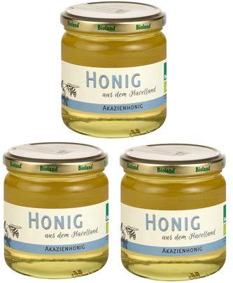 ♥ Spar Set ♥ Bioland Akazienhonig ♥ 3x 500g ♥ mild, flüssig, klar, Bio Honig aus dem Havelland, ideal für den Tee oder die Küche, ungefiltert, unbehandelt, naturbelassen
