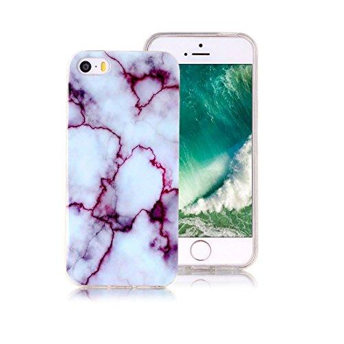 XiDe iPhone 6 Hülle iPhone 6S Hülle Marmor Textur Muster TPU Silikonhülle Softcase Back Cover Tasche Schutzhülle Anti-Scratch Telefon-Kasten Handyhülle Handycover Euit - Rauch Weiß Jade Lila