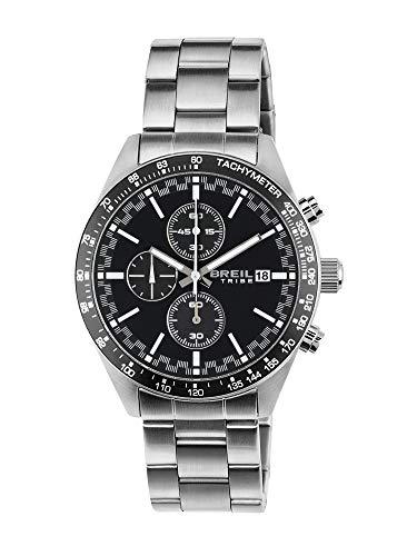 Orologio breil uomo fast quadrante mono-colore nero movimento chrono quarzo e bracciale acciaio ew0322