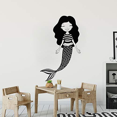 ne Meerjungfrau Wandtattoo Bad Cartoon Kindergarten Vinyl Wandaufkleber Für Mädchen Zimmer Schlafzimmer Dekoration Kunstwand grau 42x67 cm ()