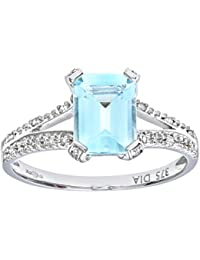 Revoni 9ct White Gold Emerald Cut Aquamarine Ring With Diamond Shoulders