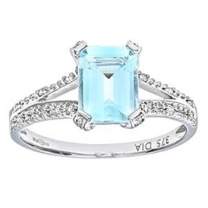 Naava Women's 9 ct White Gold Emerald Cut Aquamarine Ring With Diamond Shoulders