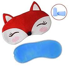 Plush Fox Sleeping Eye Mask with Ice Bag & 2 Earplugs, Paciffico Sleep Mask Eye Cover Funny Blindfold Eye Shade for Travel/Nap/Meditation,Red
