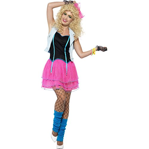 Amakando Neonkleid 80er Jahre Kostüm Damen M 40/42 Girly Mode Outfit Popstar Faschingskostüm Kleidung Achtziger Party Disco-Kostüm Rockstar