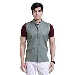 Vandnam Mens Poly Cotton Green Color Nehru Jacket ( kcmgreen )
