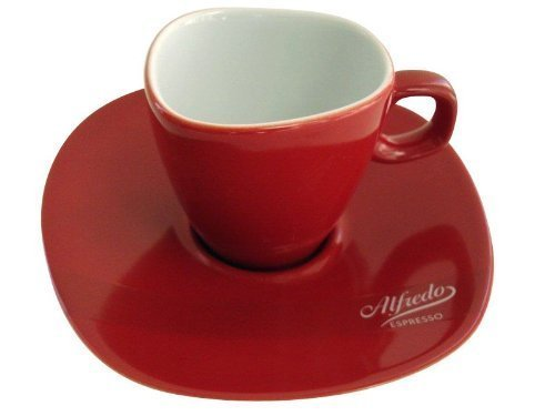 Alfredo Espresso-Tasse mit Untertasse rot 'Walküre' 6Stk