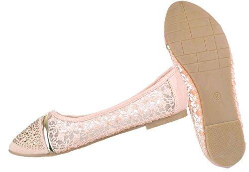 Damen Ballerinas Schuhe Loafers Slipper Slip-on Flats Strass Besetzte Pumps Schwarz Creme Weiß Rosa 36 37 38 39 40 41 Rosa