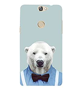 FUSON Polar Bear In Shirt Bow 3D Hard Polycarbonate Designer Back Case Cover for Coolpad Max