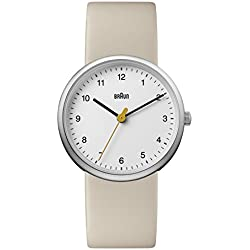 Braun Women's Quartz Watch with White Dial Analogue Display and Beige Leather Strap BN0231WHTNLAL