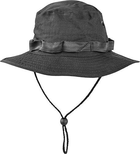 Australian Outdoor Hut Boonie Hat in vielen Farben und Grössen Farbe Schwarz Größe (Erwachsenen Safari Hut)