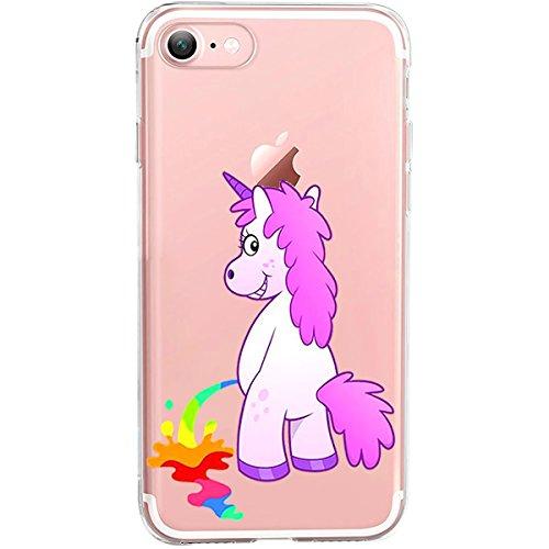 Girlscases® Hülle kompatibel für iPhone 8/7 | Einhorn Macht Regenbogen-PIPI |Transparente Schutzhülle mit Einhorn Regenbogen Unicorn Motiv | Aus TPU Silikon