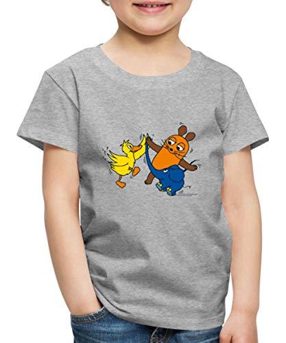Sendung Mit Der Maus Tanzt Mit Elefant Und Ente Kinder Premium T-Shirt, 98/104 (2 Jahre), Grau meliert