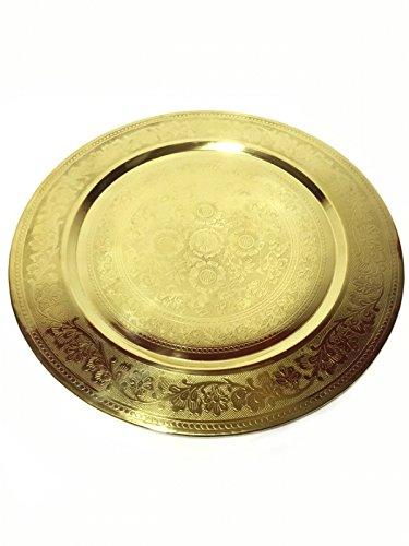 Orientalisches rundes Tablett aus Messing AFAF 50cm | Marokkanisches Teetablett in der Farbe Gold | Orient Serviertablett goldfarben | Orientalische Dekoration auf dem gedeckten Tisch