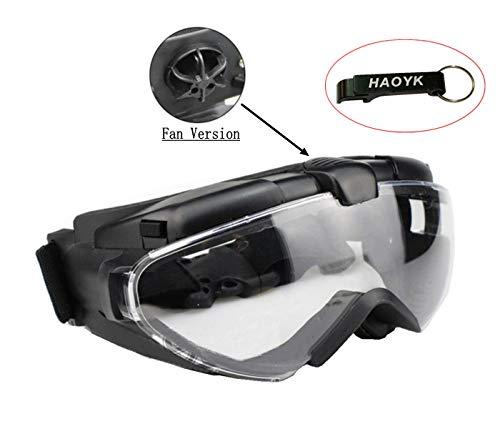 haoYK Fan Version Kühler Airsoft Glas Regler Brille Reiten Fahren Ski Bike Snowboard Sport Schutzbrille, Schwarz