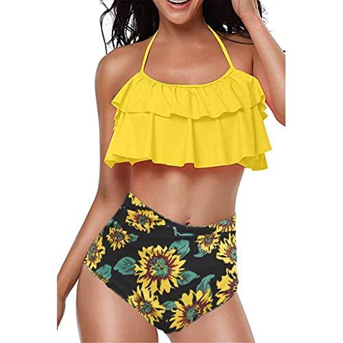 hmtitt Damen Swimwear hoch taillierte sexy rückenfreie Halfter gepolsterte Bikini Set Zweiteilige Strand Badeanzüge mit Blumenmuster gekräuselten Badeanzug Plus Size